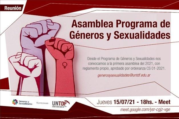 El Programa de Géneros y Sexualidades de la UNTDF realizará su primera asamblea del 2021