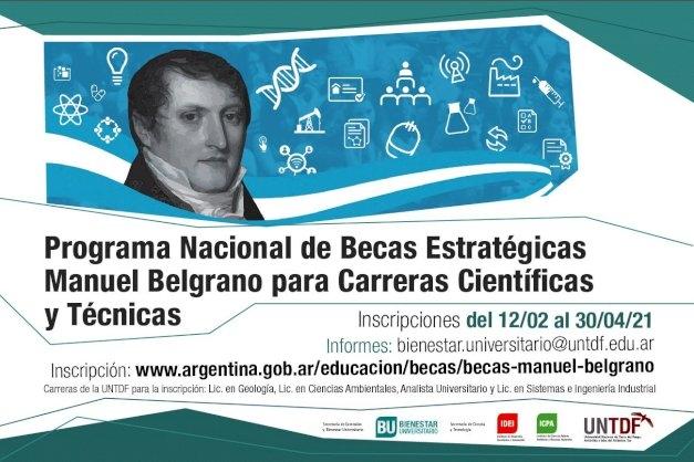 Abrieron las inscripciones para el Programa Nacional de Becas Estratégicas Manuel Belgrano para carreras científicas y técnicas