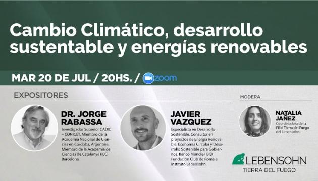 Este martes se realizará una jornada sobre Cambio Climático, Desarrollo Sustentable y Energías Renovables