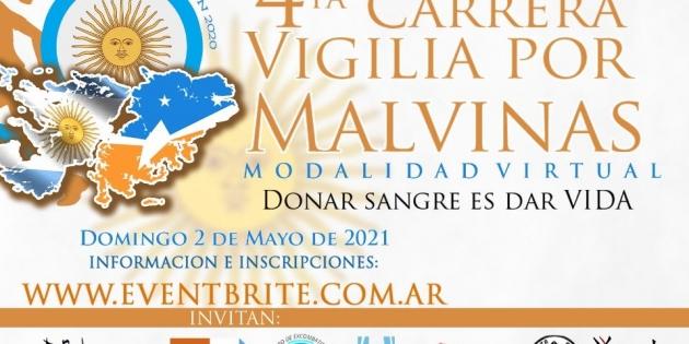 """Abrieron las inscripciones para participar de la """"Carrera Vigilia por Malvinas – Donar Sangre es Dar Vida"""""""