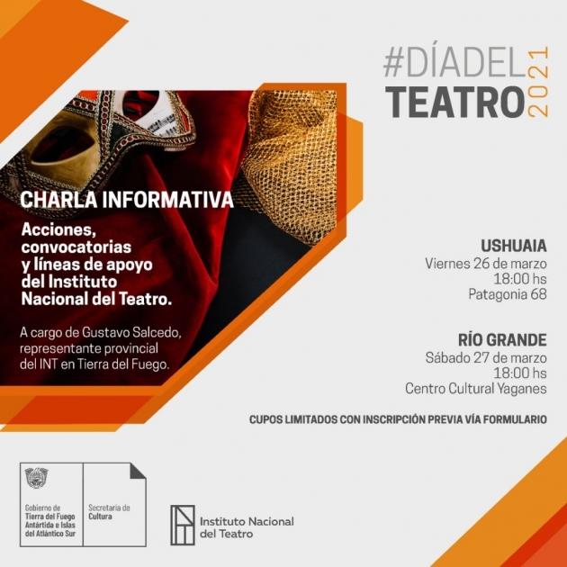 La Secretaría de Cultura invita a participar de charlas sobre acciones y líneas de apoyo del Instituto Nacional del Teatro
