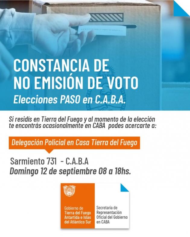 Se podrá justificar la no emisión de voto en la Casa Tierra del Fuego en Ciudad de Buenos Aires
