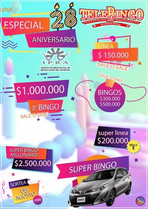 El domingo sortea el Telebingo Aniversario con más de 6 millones y medio de pesos en premios
