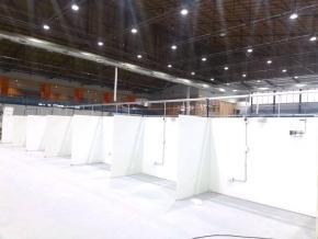 Autoridades del Ministerio de Obras Públicas recorrieron la obra del hospital de campaña en Ushuaia
