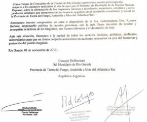 """Concejales de Río Grande llamaron a """"la unidad de todos los sectores"""""""