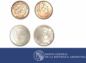 El Banco Central puso en circulación las nuevas monedas de uno y cinco pesos