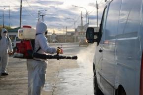 El Municipio de Tolhuin desinfectó vehículos particulares
