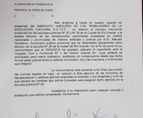 El SUTEF denunció al director de la Escuela 26 por falsas acusaciones al gremio