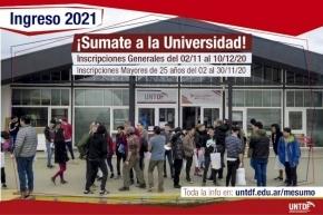 Este lunes abren las inscripciones para estudiar en la UNTDF para 2021