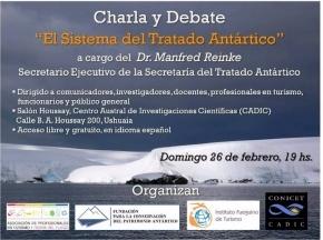 """Invitación a la charla """"El Sistema del Tratado Antártico"""""""