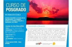 La UNTDF impulsa un curso de Posgrado sobre Conocimiento y Educación