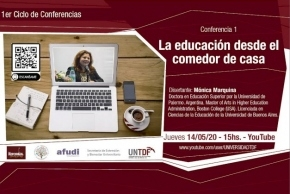 """La UNTDF inicia el ciclo de conferencias """"La educación desde el comedor de casa"""""""