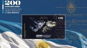 Presentan sello postal e inauguran muestra en conmemoración por el bicentenario de izamiento de la bandera nacional en las Islas Malvinas