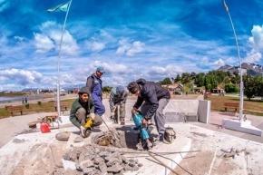 Realizan trabajos de refacción en Plaza San Martín con vistas al bicentenario de la Batalla de Chacabuco